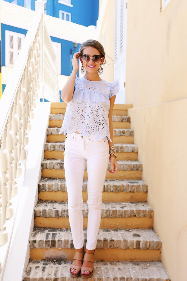 really cute outfit - eyelet top with white pants