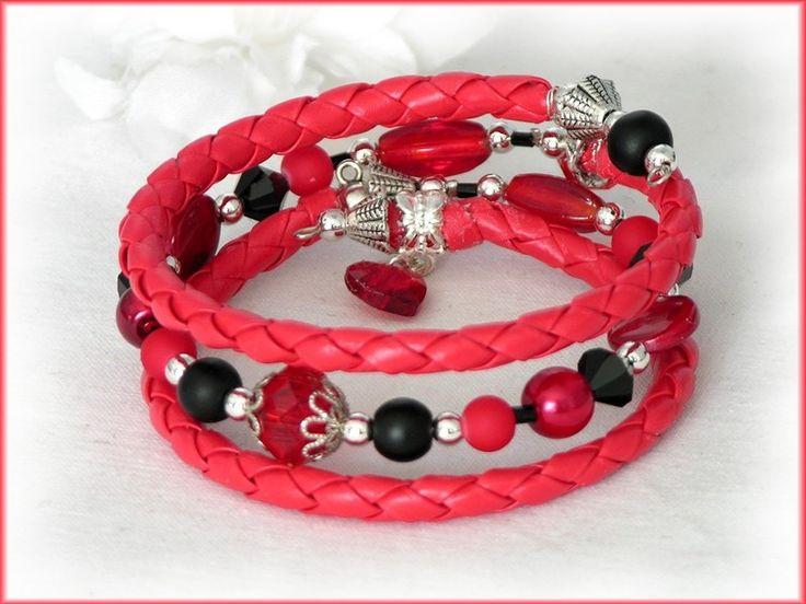 Armband rot, Flechtband, Spiralarmband *Teufelchen von Alpen-Juwel auf  http://de.dawanda.com/product/66165051-Armband-rot-Flechtband-Spiralarmband-Teufelchen