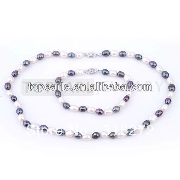 Topearl ювелирные изделия белый и черный рис пресной воды жемчужное ожерелье браслет NJ368471