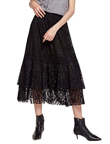 737a00629032 Women's A-Line Maxi Lace Embroidered Skirt With Elastic Waistband ...