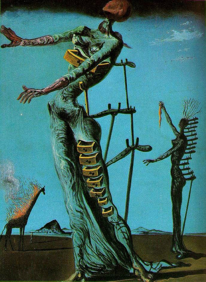 The Burning Girafe - Salvador Dali. On a fait une performance inspirée de cette oeuvre, dans un court d'art, et on a terminé le tout... en allumant la pauvre girafe en carton.