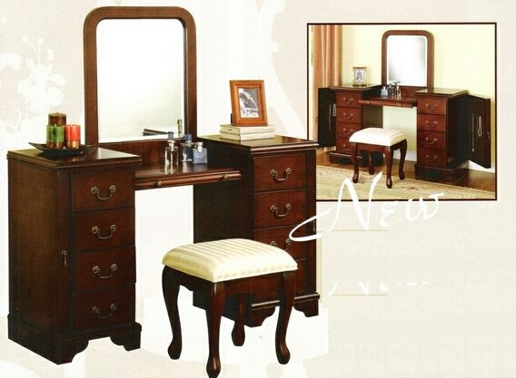 large makeup vanity table. 3 pc Louis Phillipe large bedroom make up vanity set with mirror and stool  A M B 30 best Vanity Set images on Pinterest Bedroom suites Dining