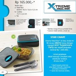 X-Treme Meal Box - Tupperware Bogor | Katalog Tupperware Maret 2013 Nama Produk: Tupperware X-Treme Meal Box Harga: Rp. 165,000,- Ukuran: a. Meal Box: 600ml/ 19,5 x 14,6 x 5,3 cm b. Cutlery: 15,7 x 2,4 cm c. Tas Deskripsi: