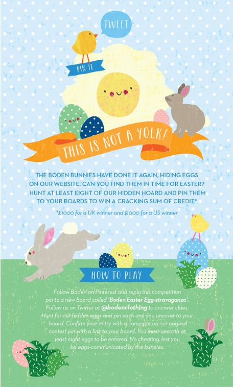 Enter our Easter Egg hunt to win a cracking sum of credit! For fulls ts and cs, click here: http://www.boden.co.uk/en-gb/help/eggcellent-terms.html