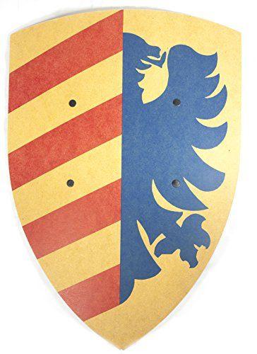 VAH - Stabiles, gebogenes Ritter Schild - Motiv: Lancelot - Material: Pappelholz - Abmessungen 36/50cm - Farbe: blau-gelb [Unbedenkliche Farben | Genietete Halteriemen aus Kunstleder | Made in Germany]