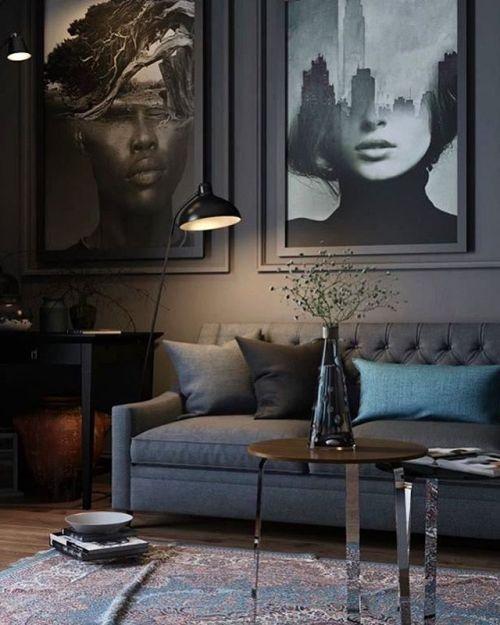 Wohnzimmer Bauernhaus mit grauer Farbe 22