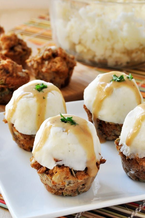 Get the recipe for these delicious vegan stuffing muffins with mashed potatoes and gravy, and more of the best vegan Thanksgiving recipes ever. #thanksgiving #veganrecipes #veganthanksgiving #vegansides #stuffingmuffins