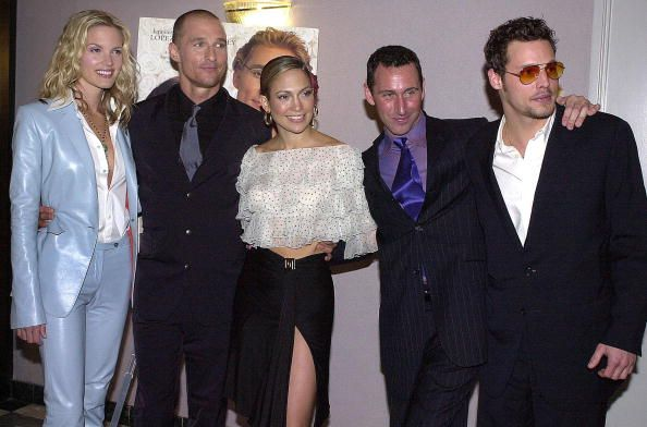 US cast of 'The Wedding Planner' pose at the film's premiere in Los Angeles 23 January 2001 Bridgette WilsonSampras Matthew McConaughey Jennifer...