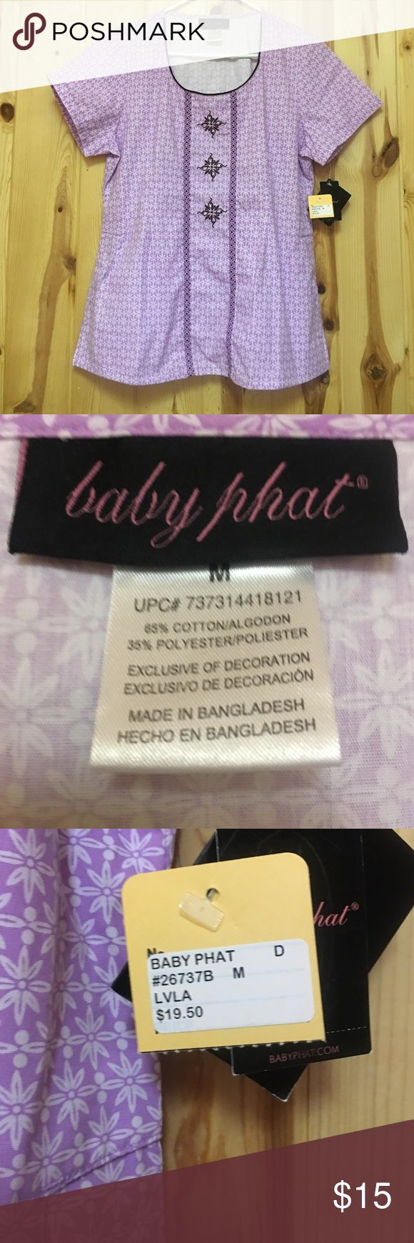 Baby Phat Scrub Top Medium NWT New With Tags Baby Phat Scrub Top Has 2 Side Pockets Retail Price 19.50 My Price at $15 is Firm Baby Phat Tops