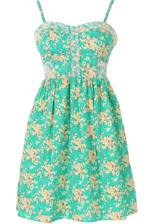 In Bloom Green and Beige Ditsy Floral Designer Dress  www.lilyboutique.com