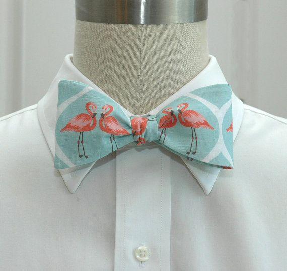 Men's Bow Tie Aqua with Coral Flamingos Wedding party by CCADesign