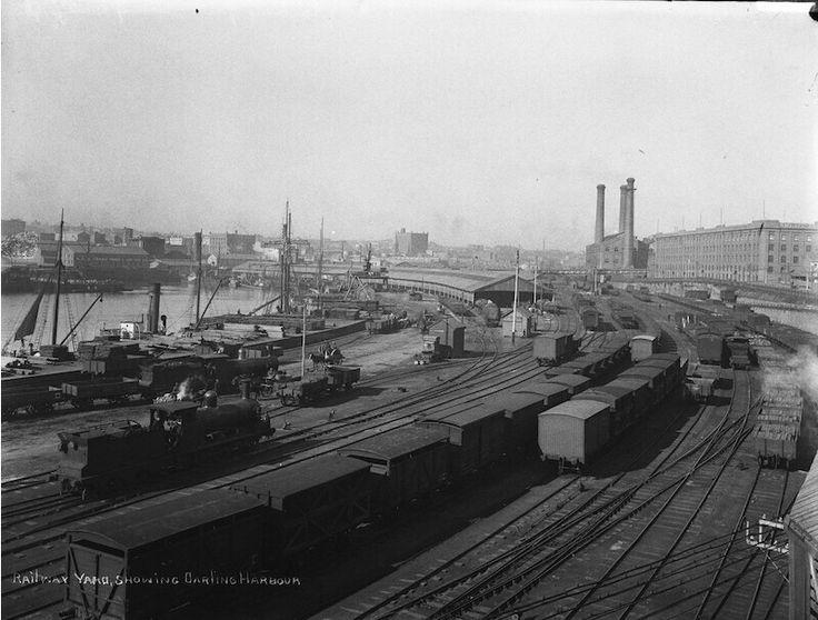 Railway yard showing Darling Harbour in Sydney (year unknown).A♥W