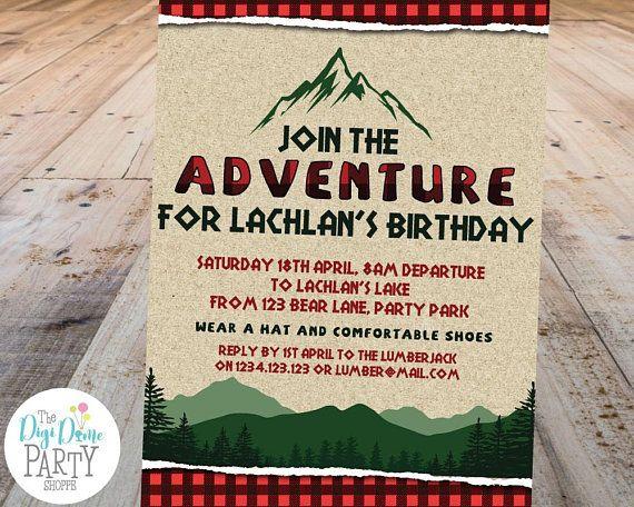 Editable Printable Lumberjack Adventure Camping Party Etsy Camping Party Invitations Party Invite Template Camping Birthday Party Invitations