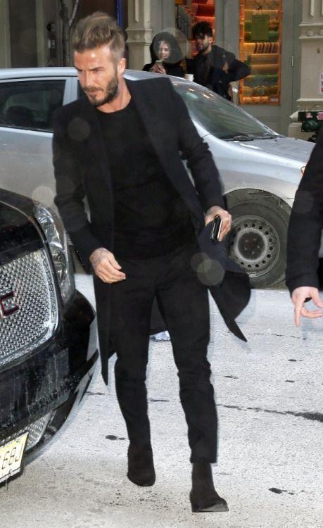 ベッカム 全身黒コーデ | メンズファッションスナップ フリーク | 着こなしNo:91111