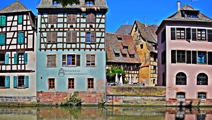 Beautiful half-timbered houses in Strasbourg, France. Visit Strasbourg. Alsace Region