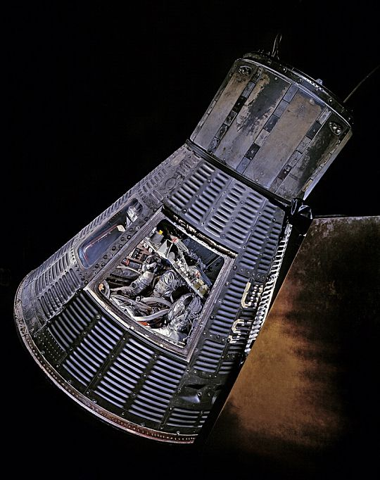"February 20, 1962: Today in 1962: John H. Glenn Jr. became the first American to orbit the Earth in this Mercury capsule he named ""Friendship 7."" Glenn's flight was the third piloted mission of Project Mercury, following two suborbital flights by astronauts in 1961. Glenn orbited the Earth three times and splashed down in the Atlantic 4 hours, 55 minutes, and 23 seconds after launch. ""Friendship 7"" is currently in the Mary Baker Engen Restoration Hangar at our Udvar-Hazy Center in VA."