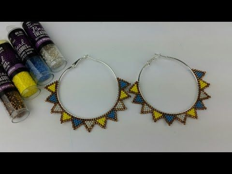 ARETES/ ARRACADAS CON MIYUKI DELICAS/ HOOP EARRINGS /BRICK STITCH – YouTube