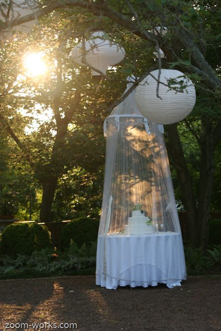 Pretty way to cover the cake at an outdoor wedding... http://www.mybigdaycompany.com/weddings.html