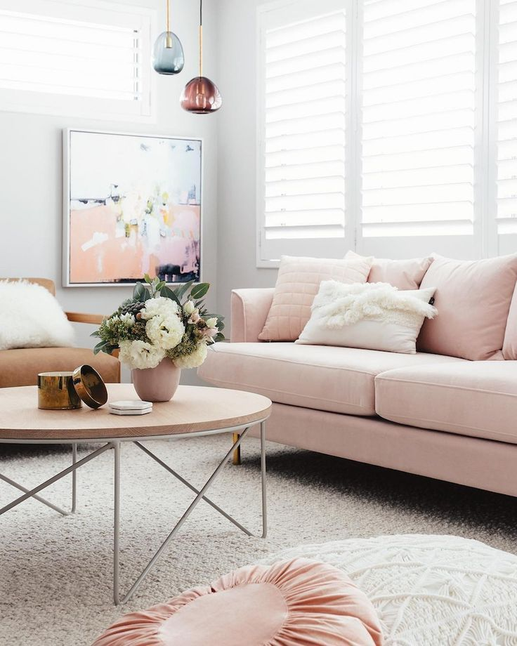 Blush Pink Sofas Add A Touch Of Color To Your Living Room Homelovr Pink Sofa Living Room Pink Sofa Living Pink Living Room
