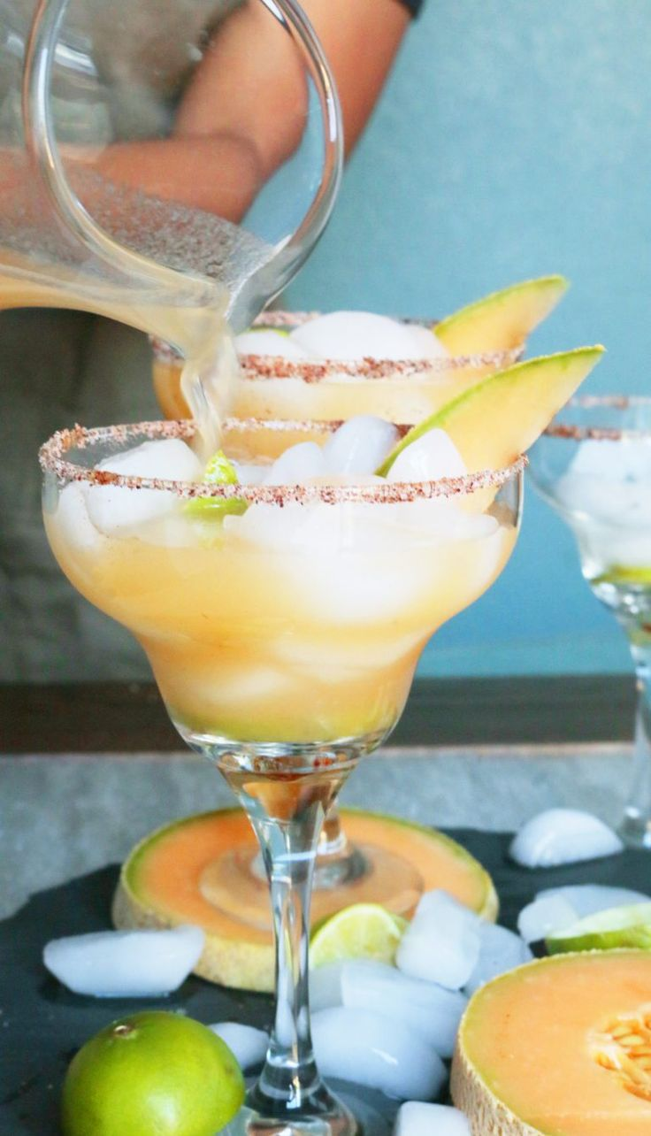 Cantaloupe Margaritas Ingredients: 1 cup cantaloupe juice 1/2 cup tequila (4 ounces) 1/4 cup triple sec (2 ounces ) 1/