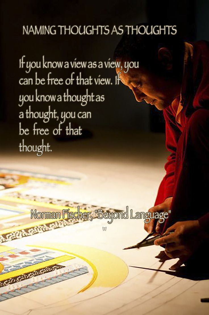 "NAMING THOUGHTS AS THOUGHTS If you know a view as a view, you can be free of that view. If you know a thought as a thought, you can be free of that thought. ♡ Norman Fischer, ""Beyond Language"""