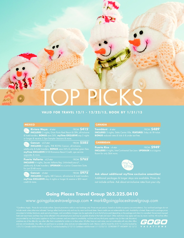 Contact me for more details 262.325.0410 or email me at mark@goingplacestravelgroup.com