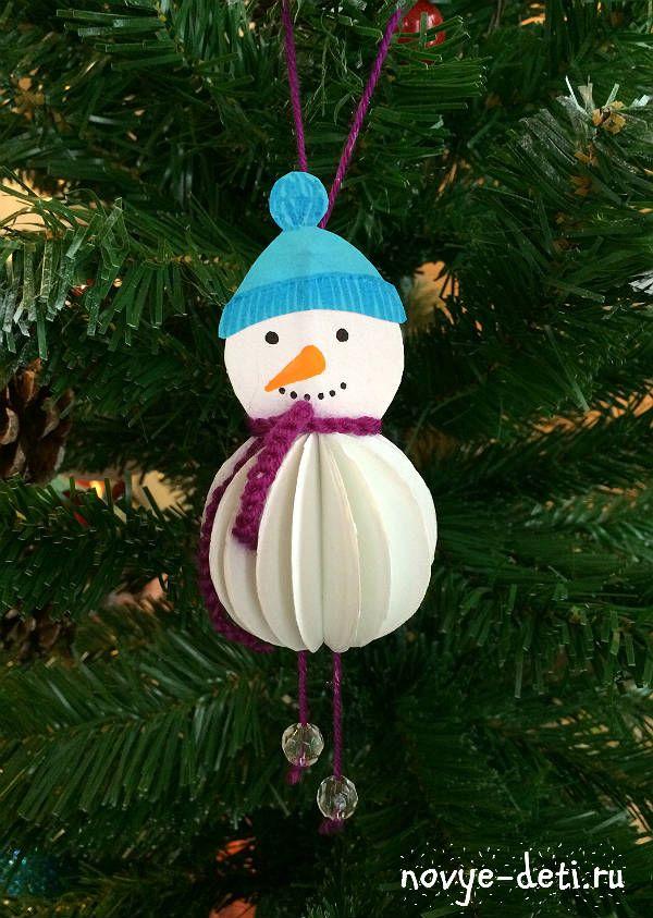 поделки на новый год в детский сад снеговик из бумаги для детей
