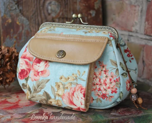 Loveka Hecho a mano: Dos corchete del bolso con el algodón y el bolso de cuero con doble cierre de oxfordiana Cath Kidston
