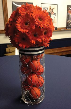 Basketball themed wedding centerpiece #basketballwedding