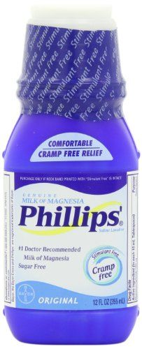 Phillips' Original Milk of Magnesia Liquid, 12-Ounce Bottle  - use as primer. interesting.