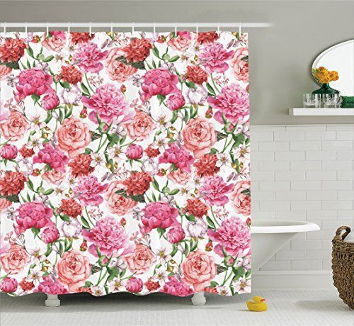 Watercolor Flower Decor Shower Curtain Set By Ambesonne Victorian Style Floral Pattern Painting Style Print With Peonies And Roses Bathroom Accessories 69W X 70L Inches Pink and White ** Find out more about the great product at the image link.