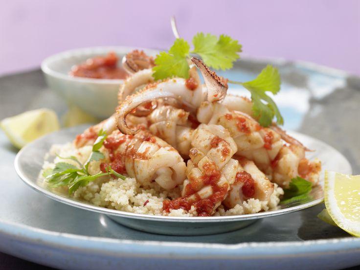 Feurige Calamri: Arabische Calamari-Pfanne - mit hausgemachtem Harissa - smarter - Kalorien: 194 Kcal - Zeit: 45 Min.   eatsmarter.de