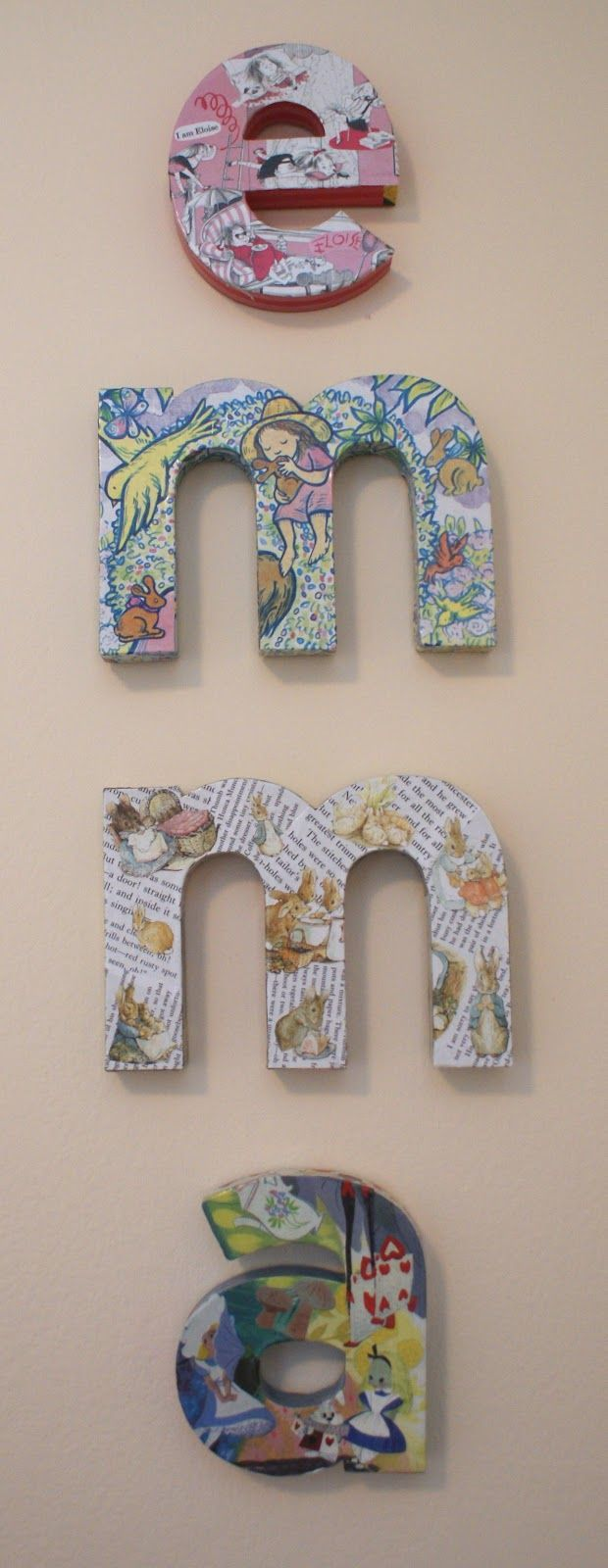 Love this DIY Kids Rooms project for making name block letters using old storybooks, kraft paper letters and Mod Podge.