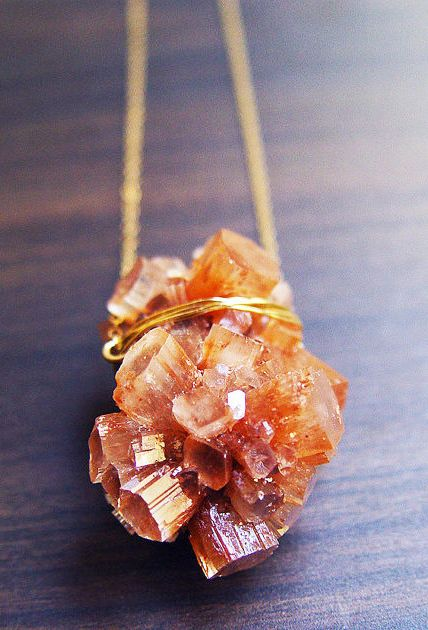 Peach Aragonite Gold Necklace Crystal Mineral