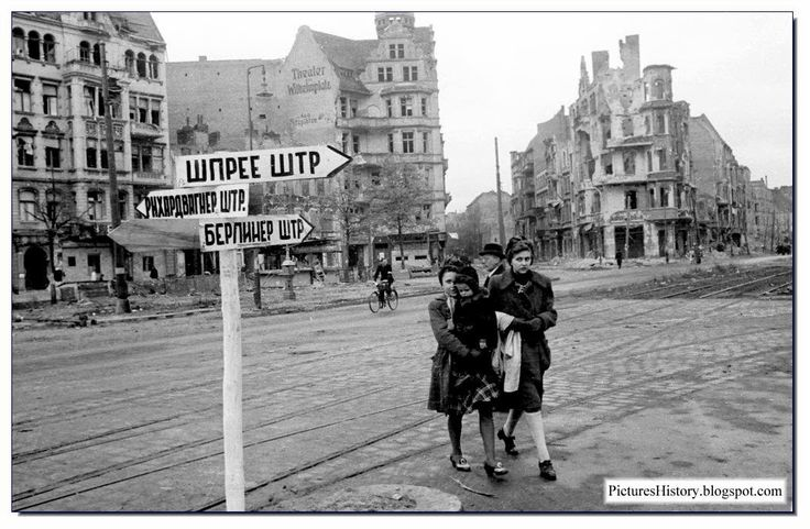 German women on a Berlin street in end of May 1945. By then the mass rape was beginning to abate somewhat.