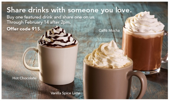 Starbucks BOGO now through Valentine's Day – daily after 2 p.m - QueenBeeCoupons.com