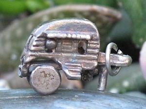 VINTAGE 1950 925 STERLING SILVER TRAVEL TRAILER GLAMPING CAMPER CHARM 4 BRACELET
