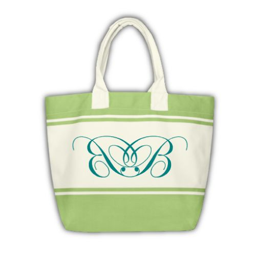 Grüne Shopping Bag mit Monogramm (Initialen BB)
