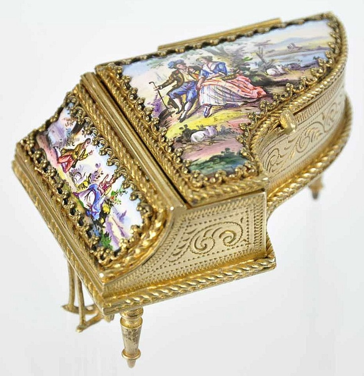 Antique Viennese Enamel & Bronze Ormolu Miniature Piano Jewel Casket