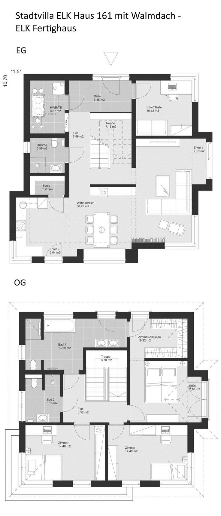 Grundriss Stadtvilla modern mit Walmdach Architekt…
