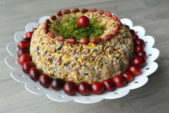 simple thoughts vogelvoer taart diy bird cake