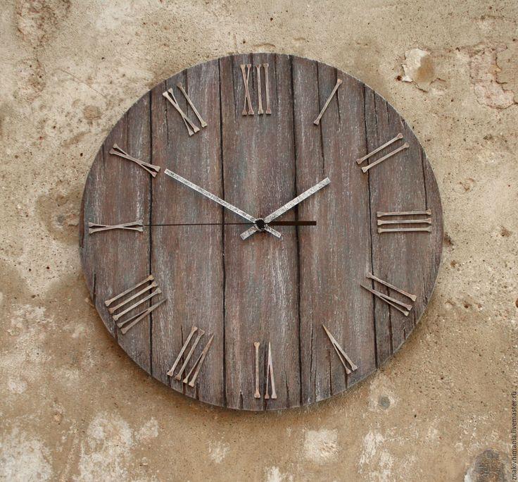 """Купить Большие интерьерные часы """"Сиреневый туман"""" настенные часы - серый, сиреневый, лофт, часы"""