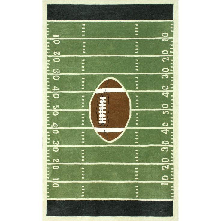 NuLOOM Handmade Football Field Green Rug (5' X 8') By