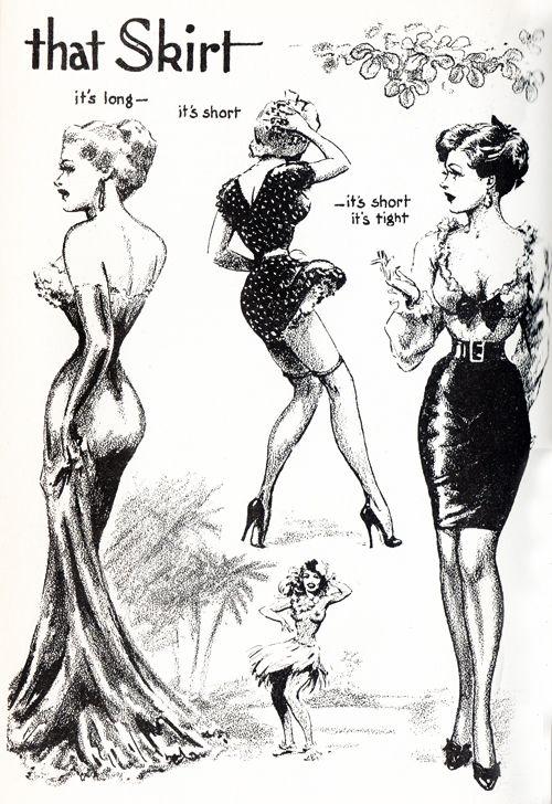 That Skirt. Illustration by John Willie from Bizarre Magazine issue 7, 1952Vintage Posters, John Willis, Skirts, Artpainting Stuff, Artists Inspiration, Fashion Illustration, Vintage Art, Fashion Sassy, Pin Up Girls