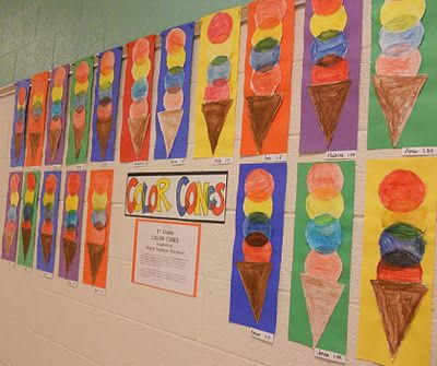 Thiebaud inspired cones- primary, secondary colors, overlapping