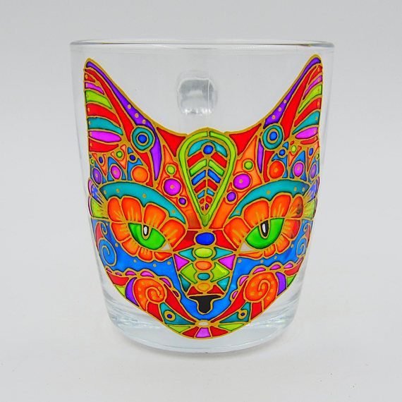 Rainbow Cat Mug Hand Painted Stained Glass Cup Gift