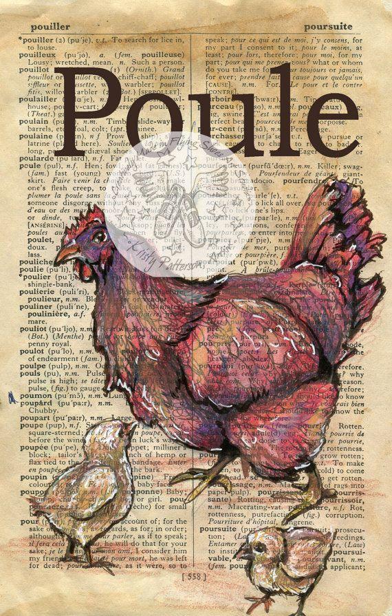 Drucken: Poule (Französisch Huhn) Mischtechnik Zeichnung auf antike Wörterbuch