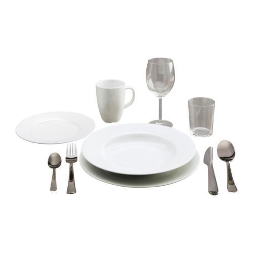 STARTBOX PLUS 60-piece service - IKEA. 6 of each: Fork, knife, spoon, teaspoon, plate (27 cm), deep plate (25 cm), side plate (21 cm), mug (30 cl, height 11 cm), red wine glass (30 cl) and glass (20 cl)