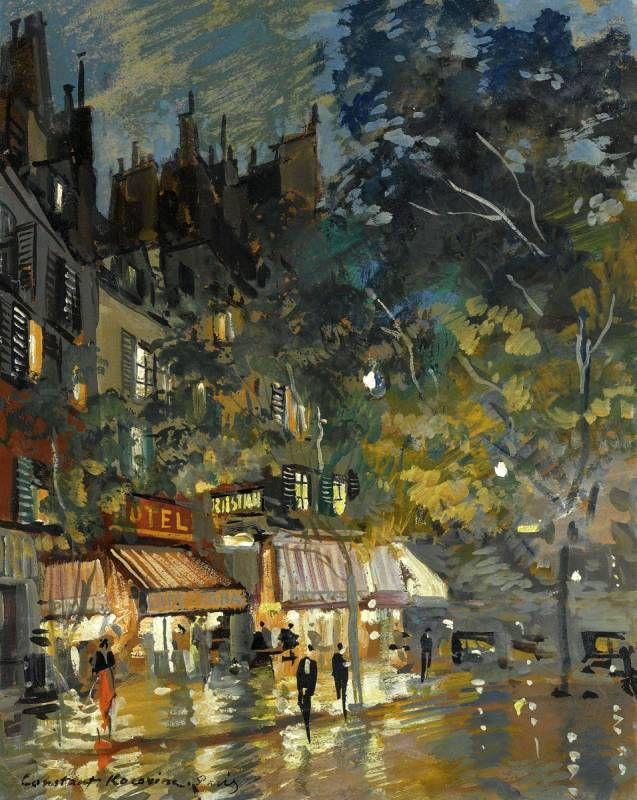 Kostantin Korovin. Paris Cafe by Night