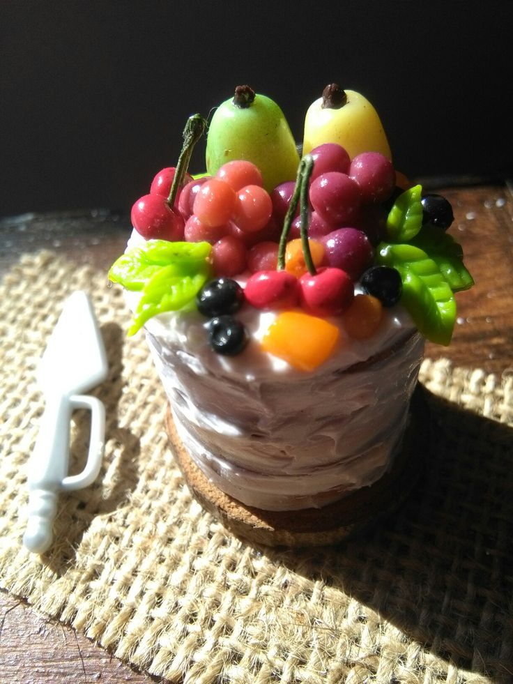 Polymer clay miniature naked cake with fruits available in my shop on Etsy